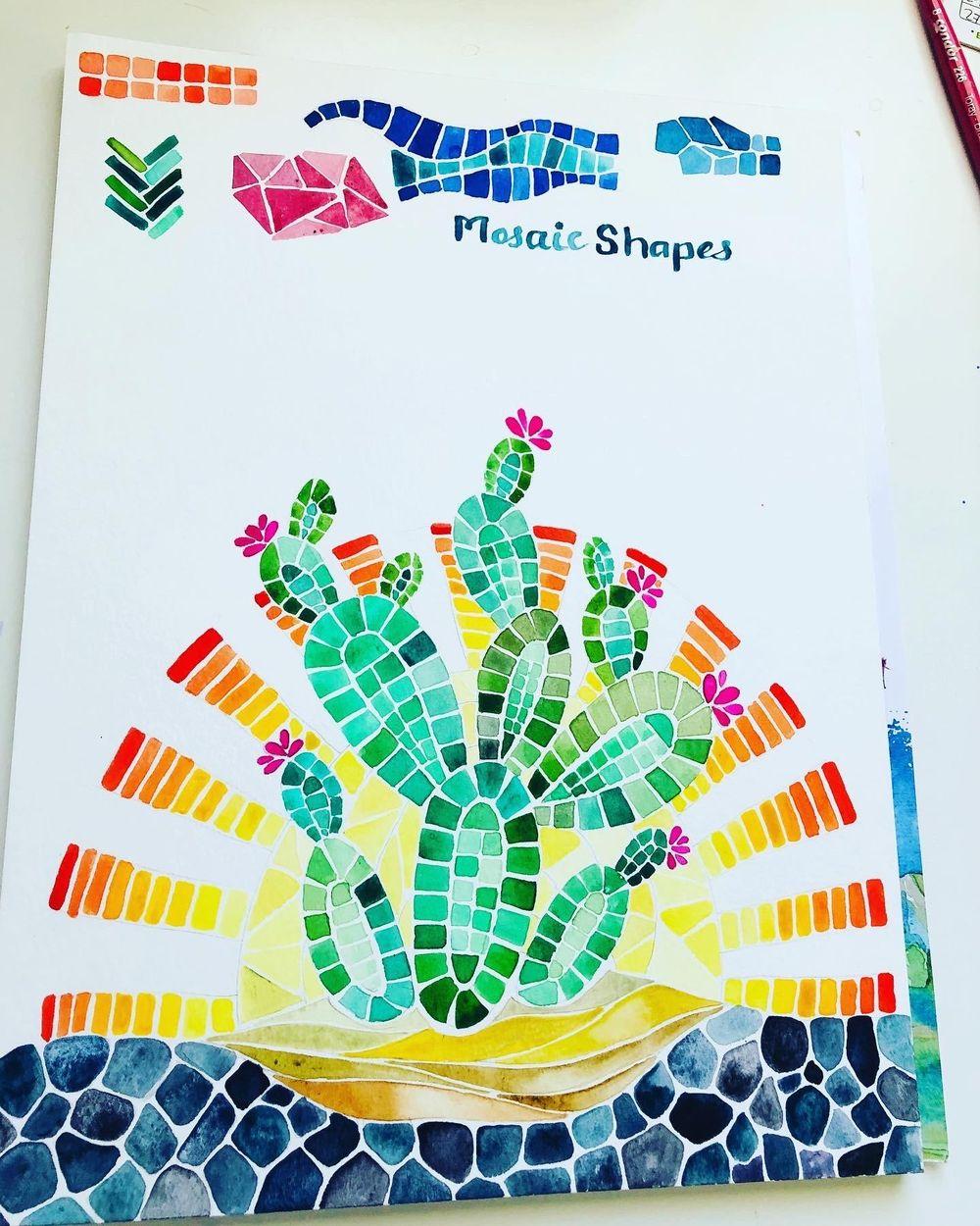 Desert Cacti Horizon Watercolor Mosaic process and final piece - image 2 - student project