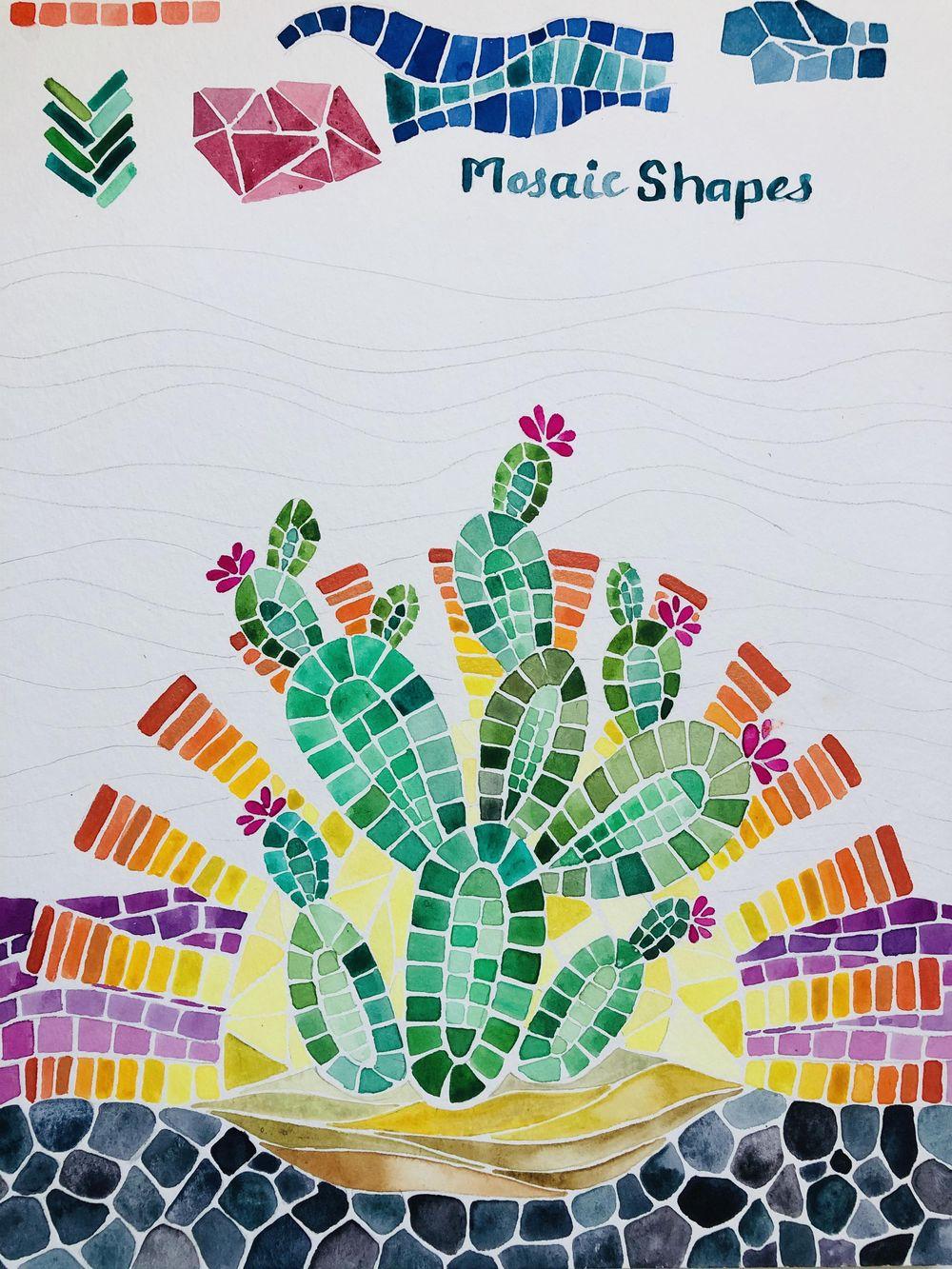 Desert Cacti Horizon Watercolor Mosaic process and final piece - image 3 - student project