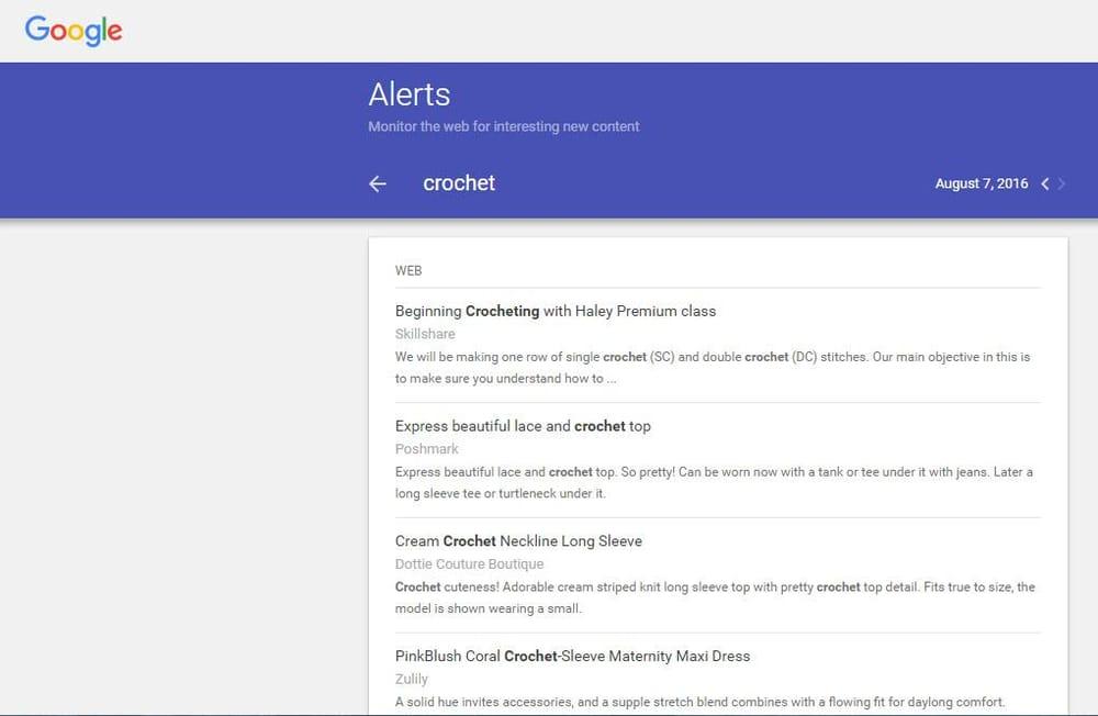 Google Alert - Crochet - image 1 - student project