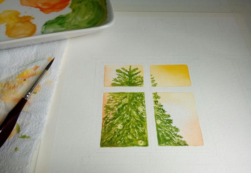 Luminous objects & brickwall in watercolor - image 3 - student project
