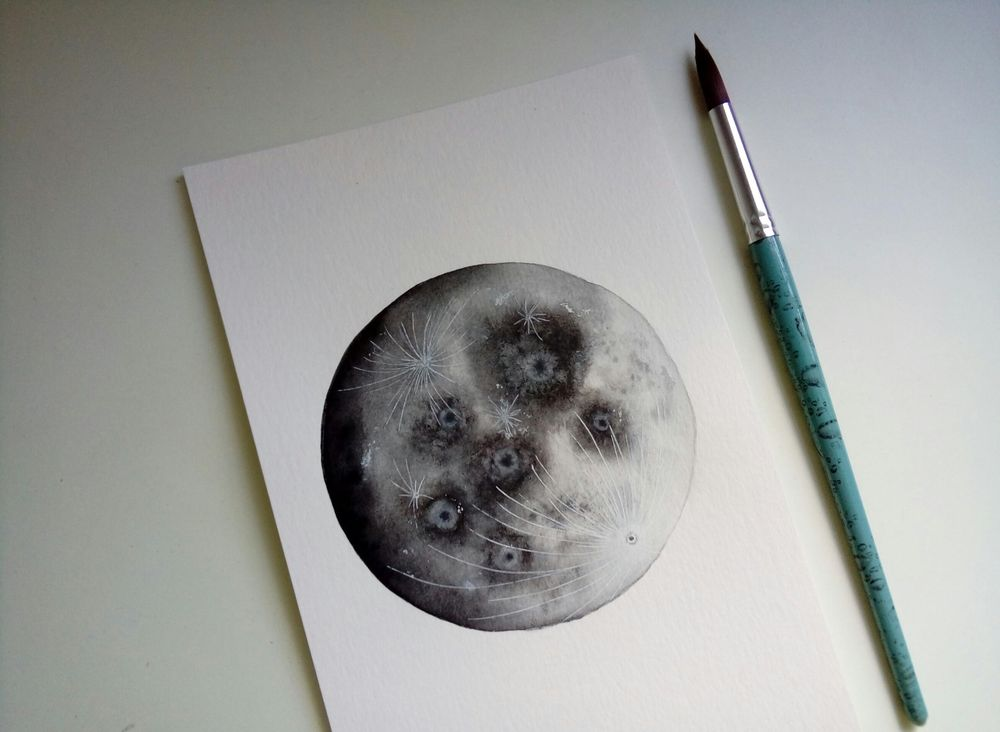 Watercolor Moons - image 2 - student project