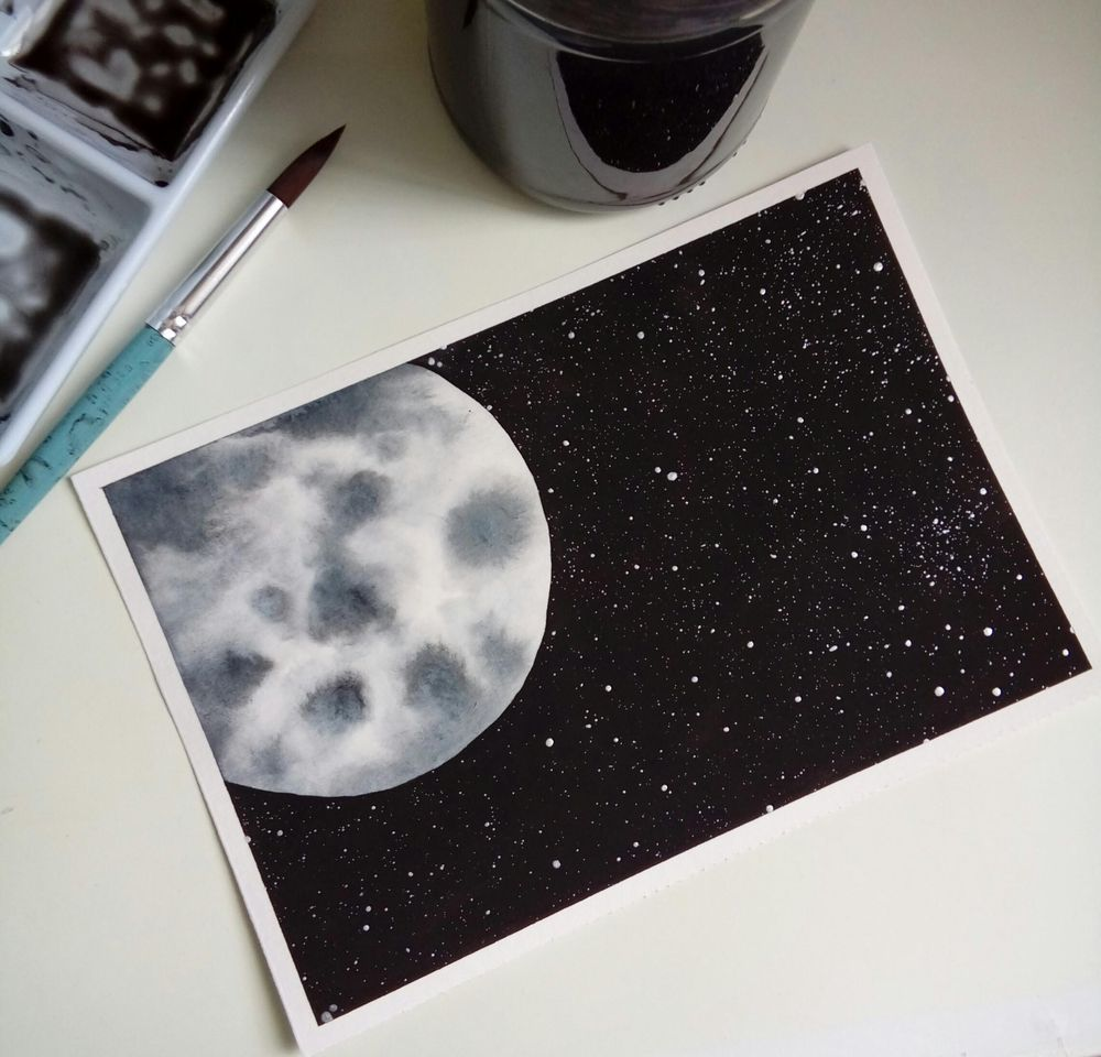 Watercolor Moons - image 3 - student project