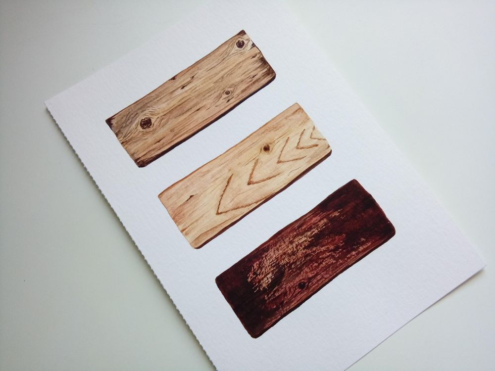 Wood texture in watercolor - image 2 - student project