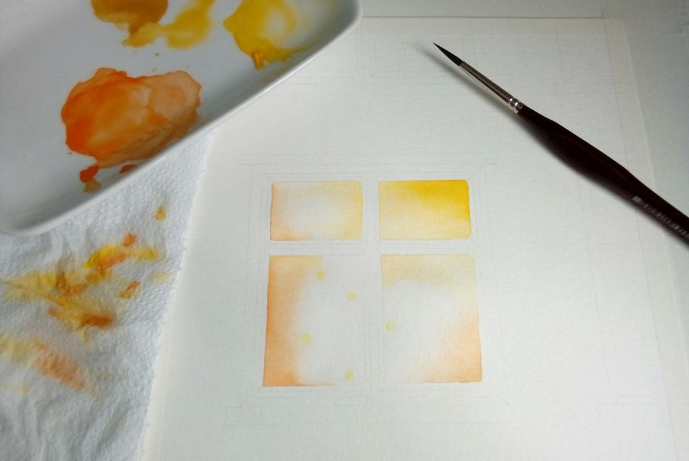Luminous objects & brickwall in watercolor - image 2 - student project