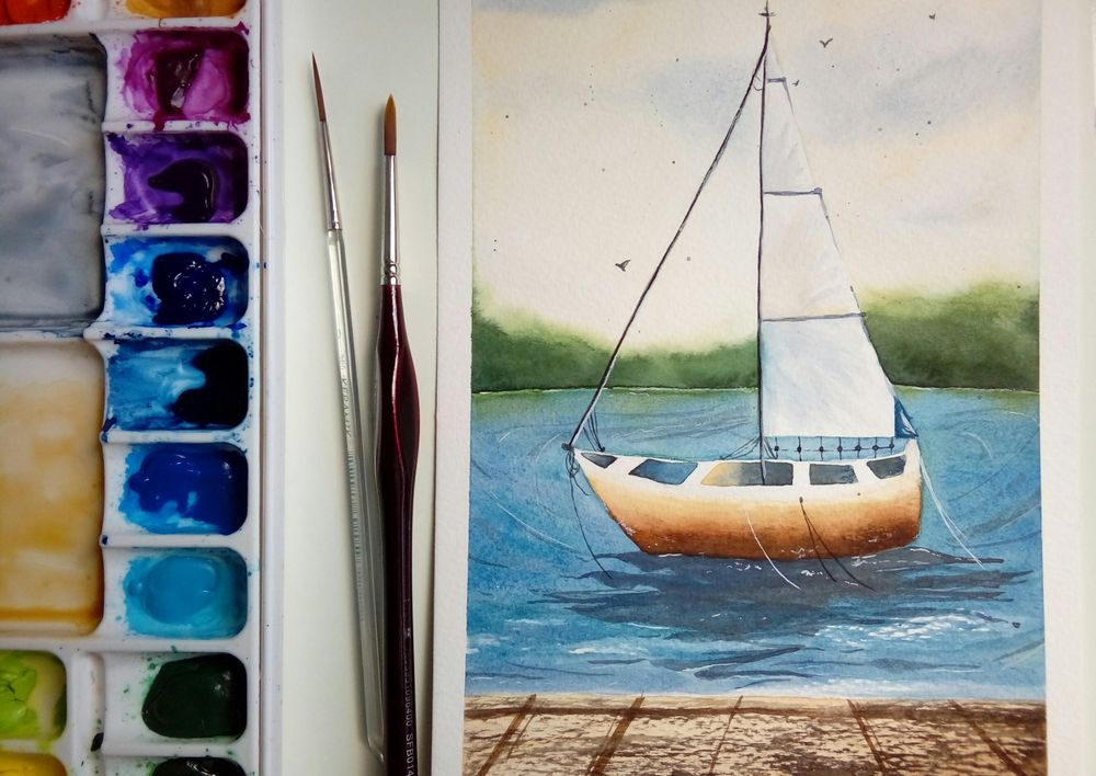 Watercolor Seascape - image 5 - student project
