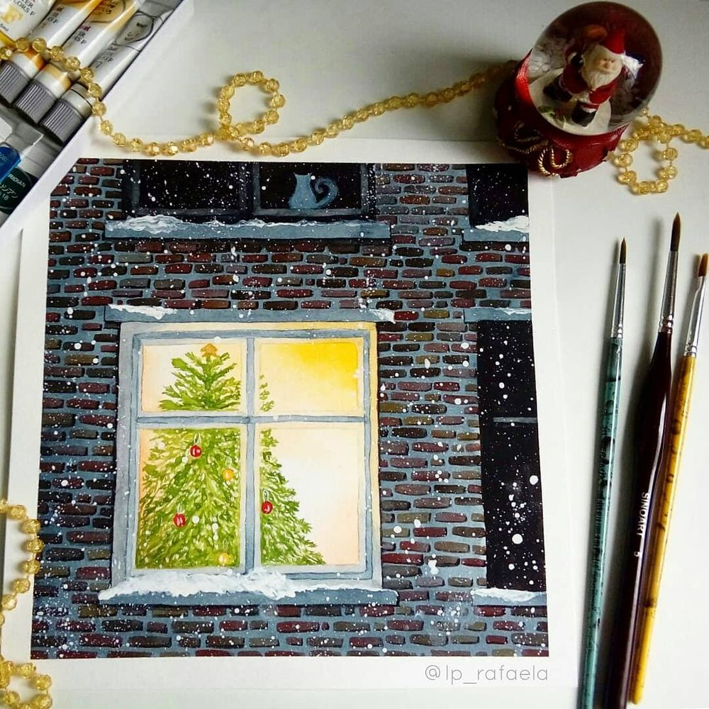 Luminous objects & brickwall in watercolor - image 5 - student project
