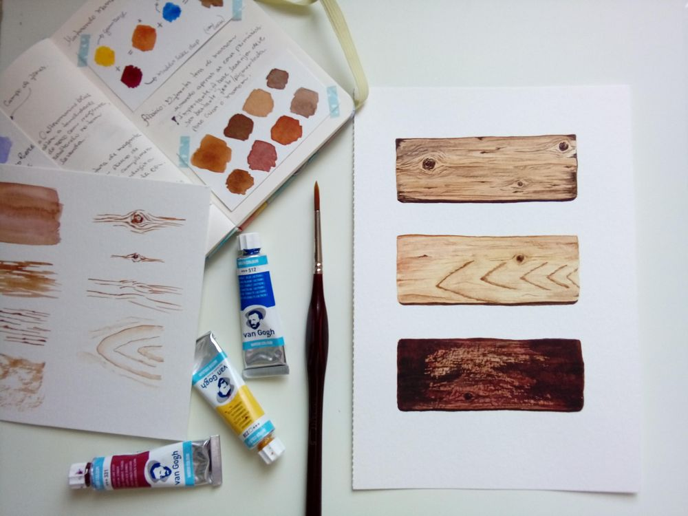 Wood texture in watercolor - image 1 - student project