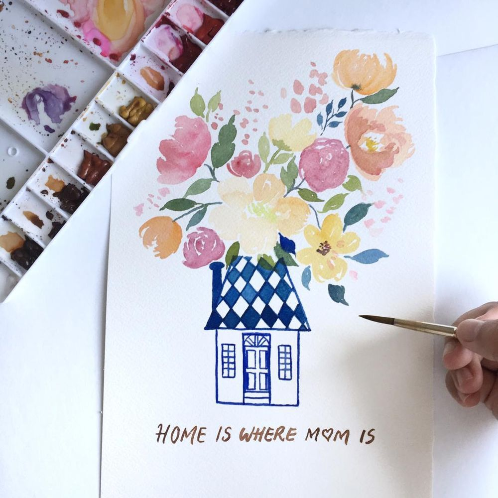 Mother's Day Cards in Watercolour - image 5 - student project