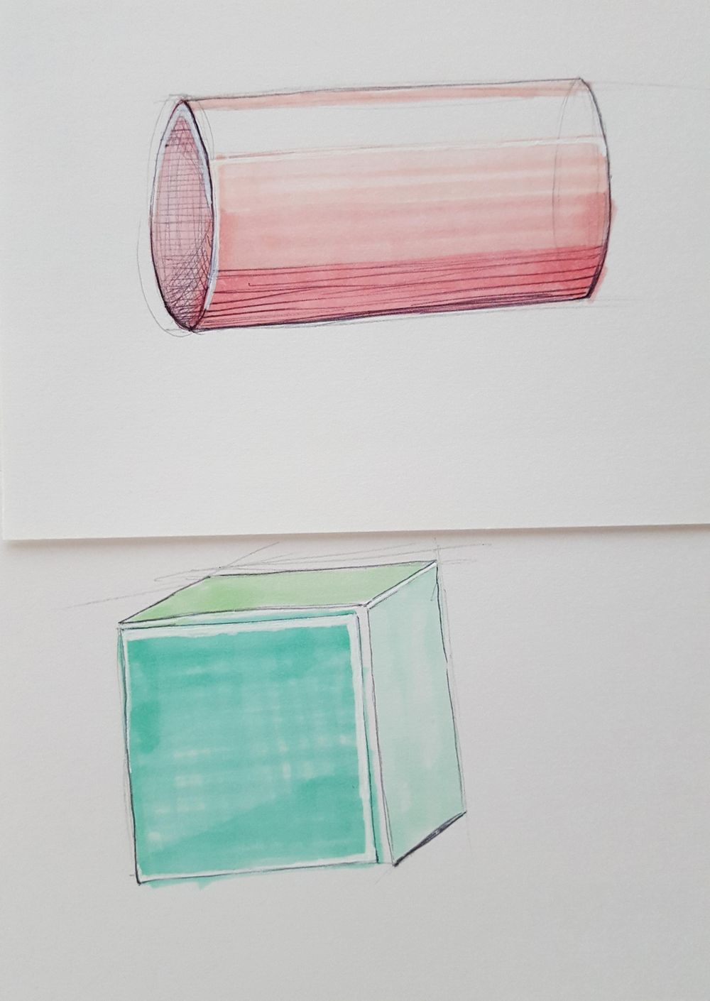 Cylinder and cube!!! ^-^ - image 1 - student project