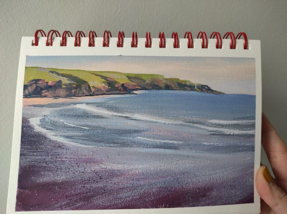 Beach landscape with dry gouache - image 3 - student project