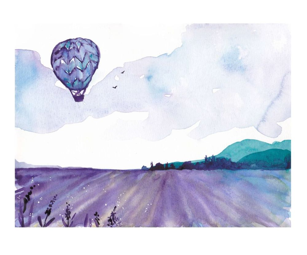 Hot air balloon over vineyard - image 1 - student project