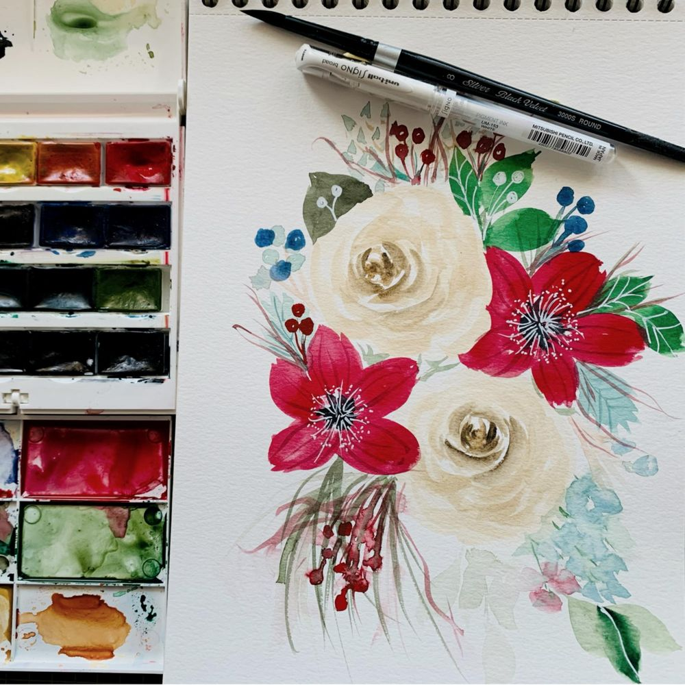 Modern holiday florals - image 2 - student project
