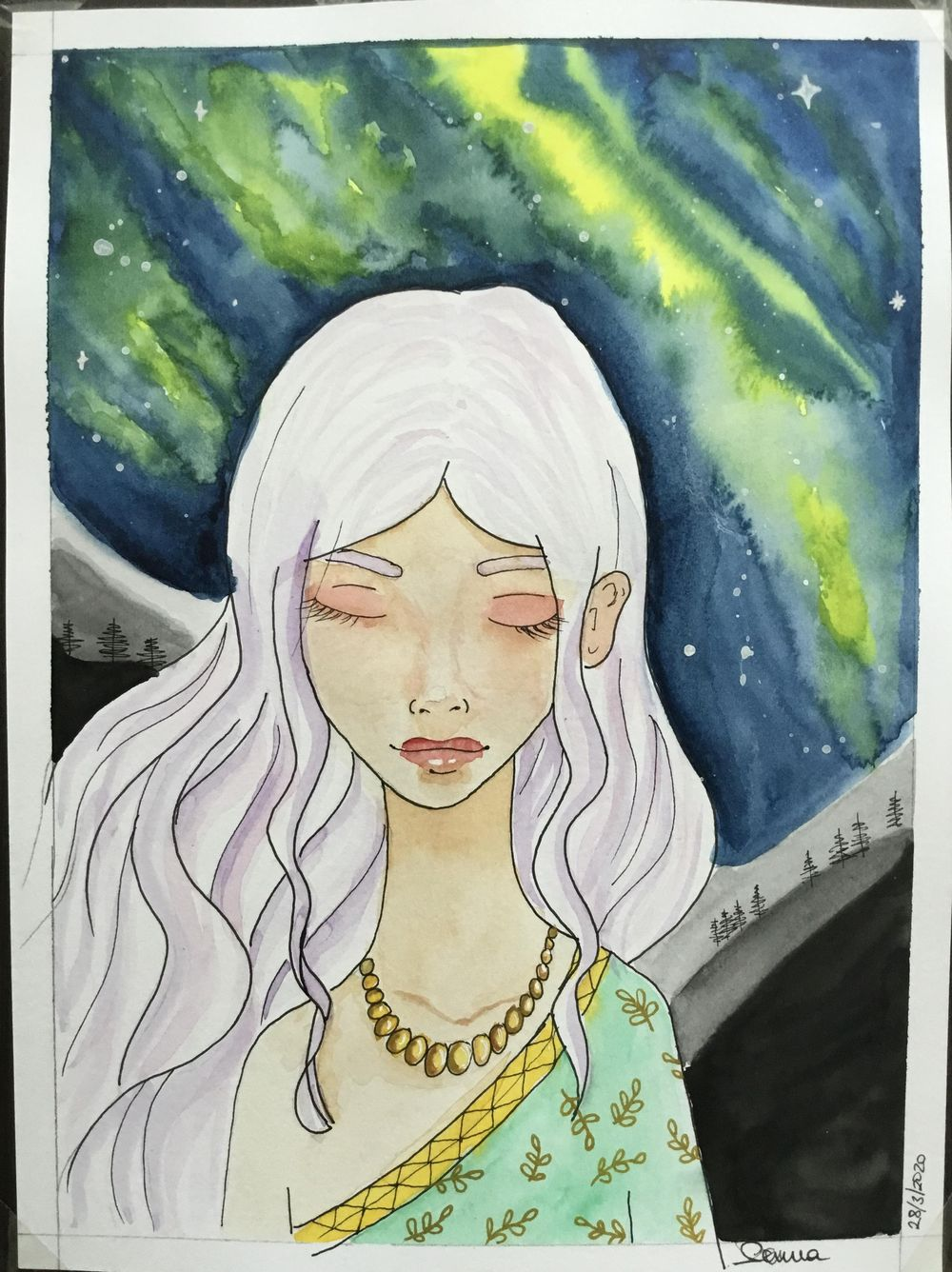 Watercolor Galaxy Painting 2-Manga portrait with nothern light - image 1 - student project