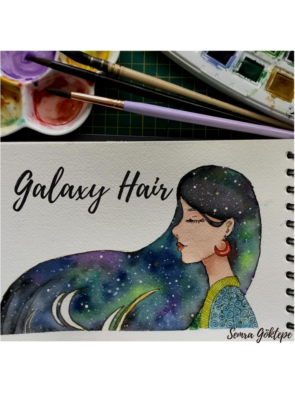 Watercolor Galaxy Painting #1 - Nebulae Hair - image 1 - student project