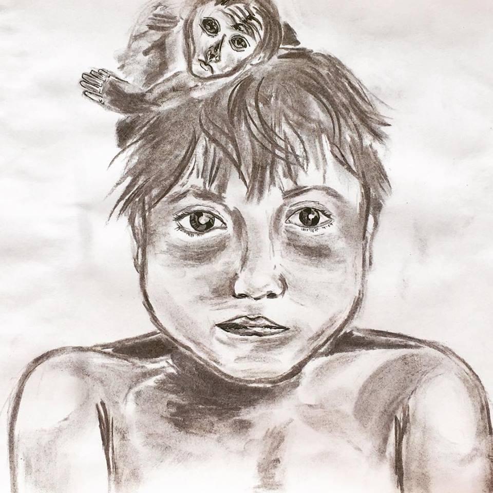 Charcoal portrait - image 1 - student project