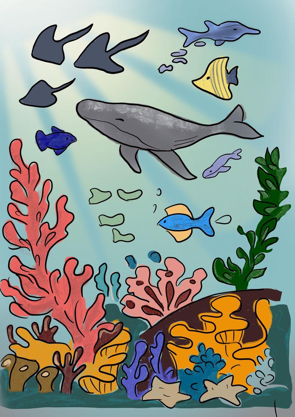 Underwater scene digital illustration - image 1 - student project