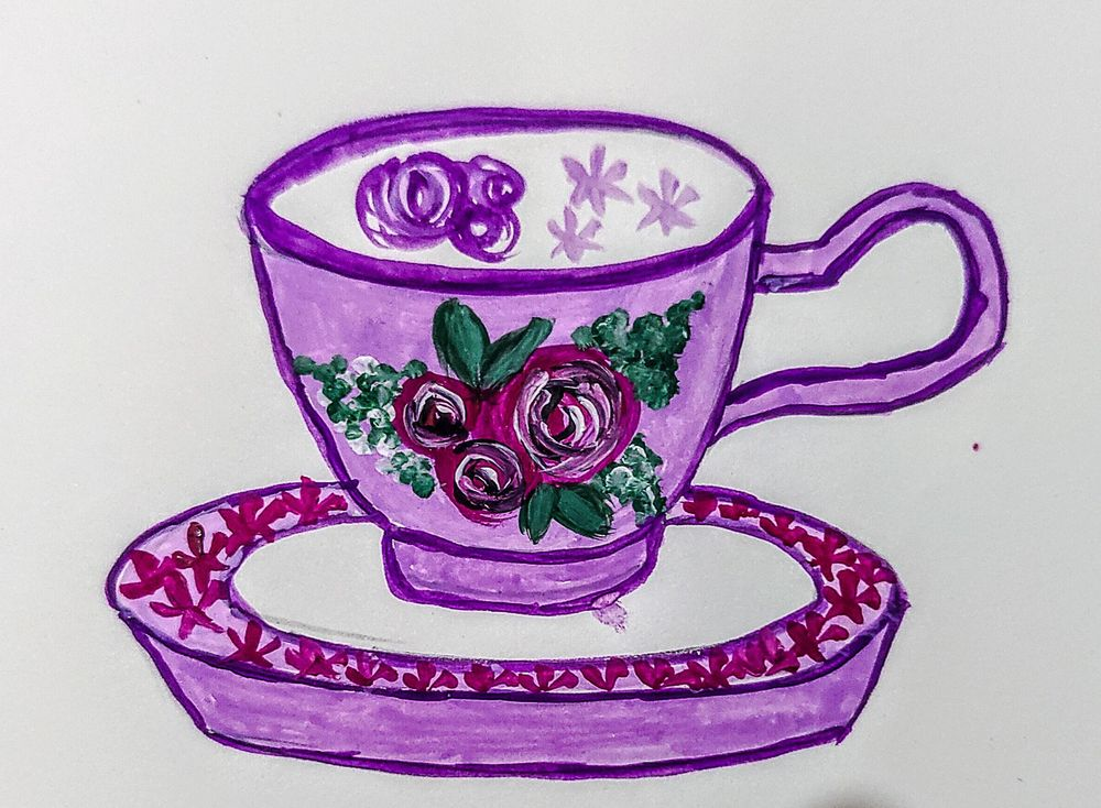 Teacups In Gouache - image 1 - student project