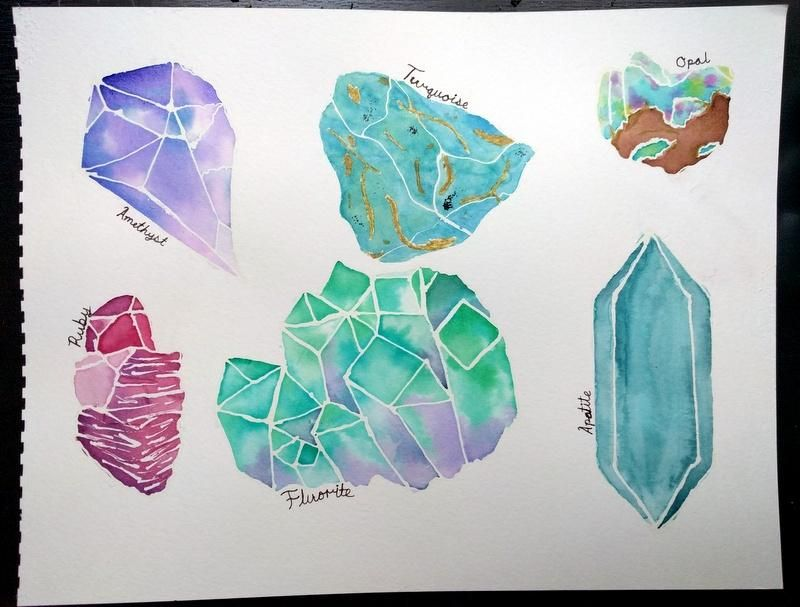 Watercolor Crystals - image 1 - student project
