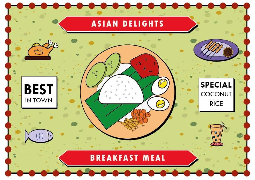 Asian Delights -  Coconut Rice - Nasi Lemak - image 1 - student project