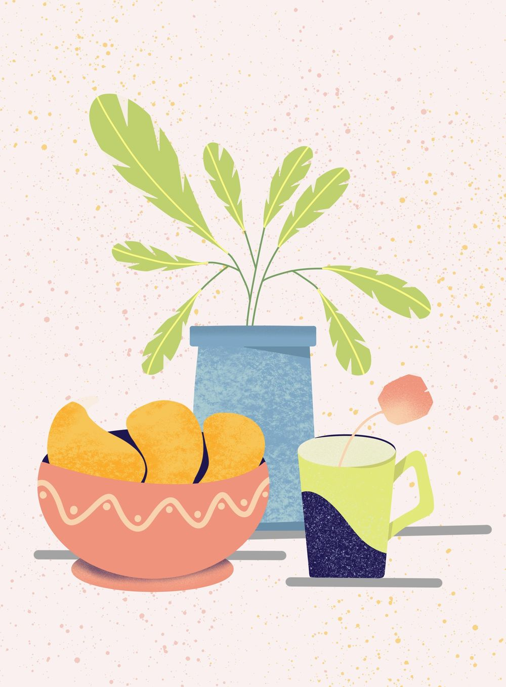 fruit bowl with mangoes, abstract plant and a mug with a tea bag! - image 1 - student project