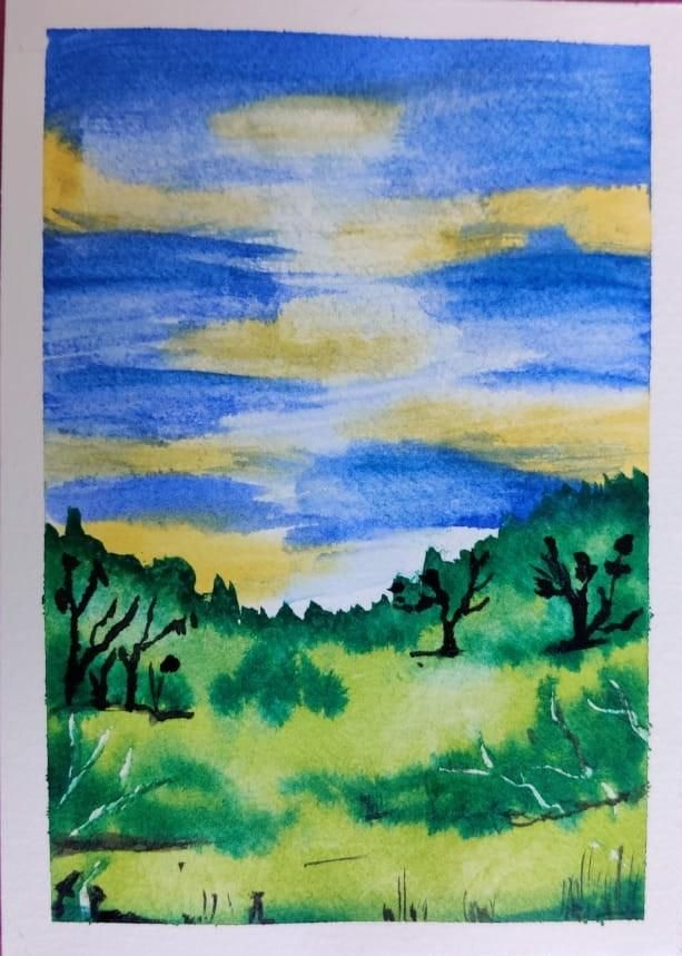 4 Watercolor Landscape by Megha - image 2 - student project
