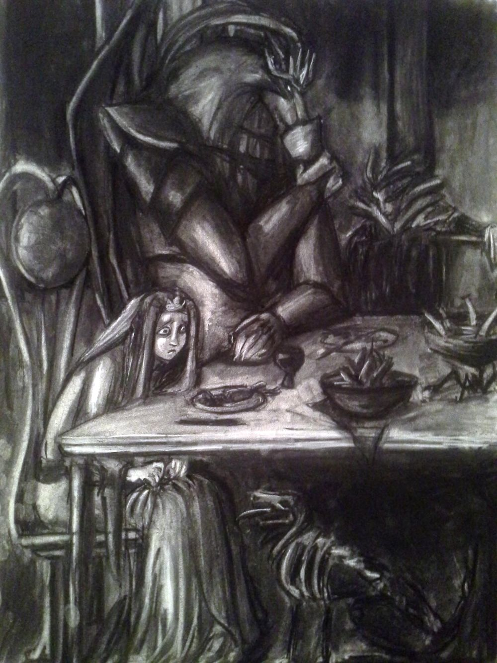 Charcoal Drawing of 2 AM Angst - image 1 - student project