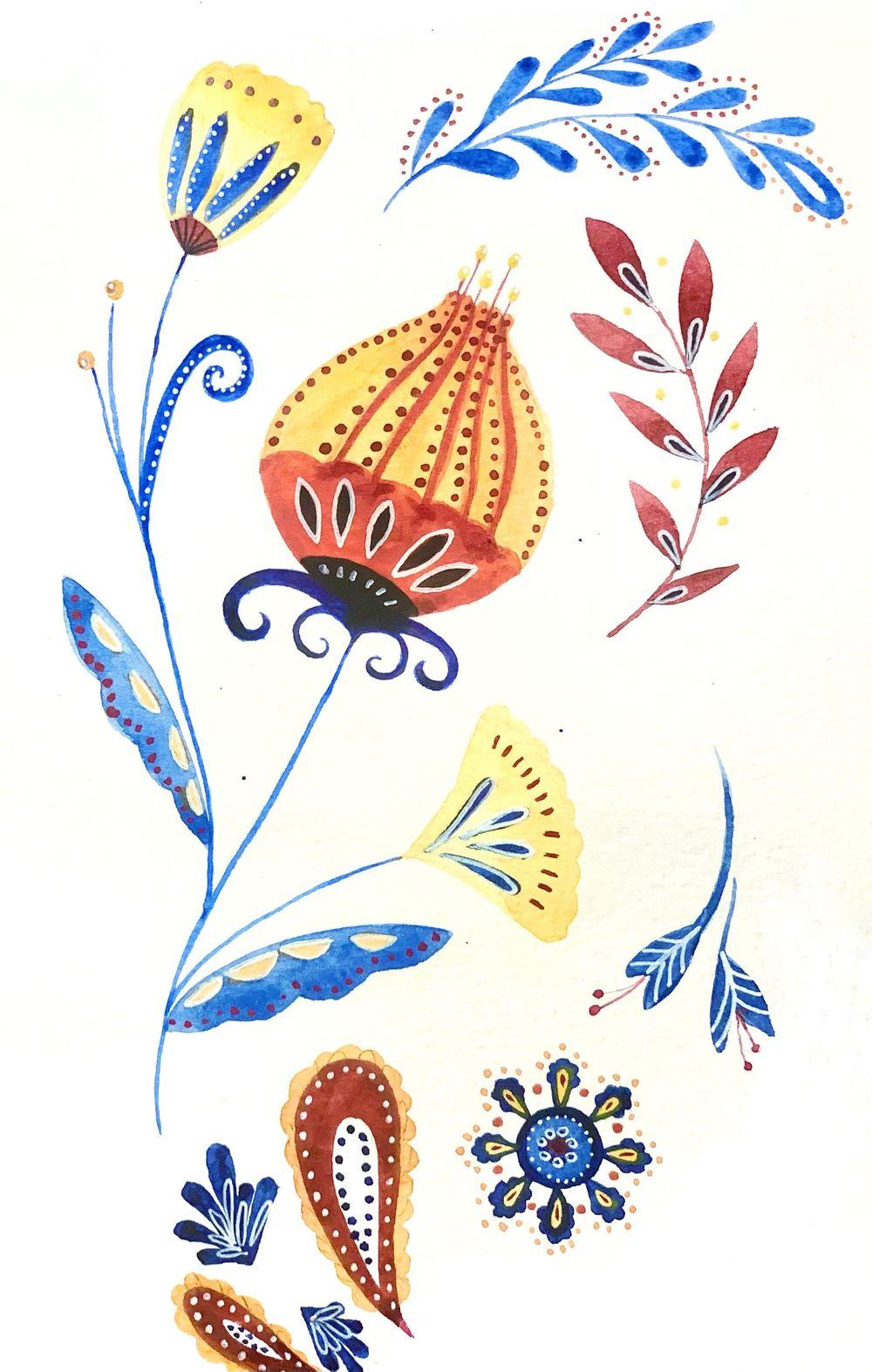 Folk Art, watercolor - image 1 - student project