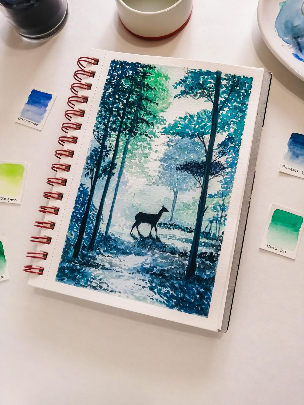 forest trees and deer - image 2 - student project