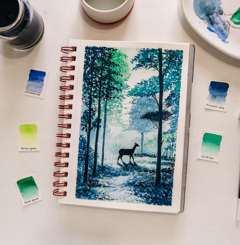 forest trees and deer - image 1 - student project