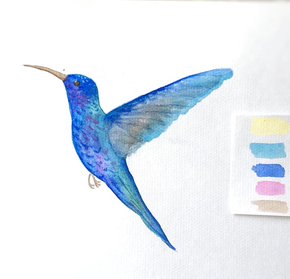 Watercolor Hummingbird - image 1 - student project