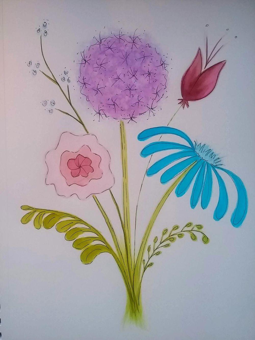 floral bouquet and flat arrangement - image 1 - student project