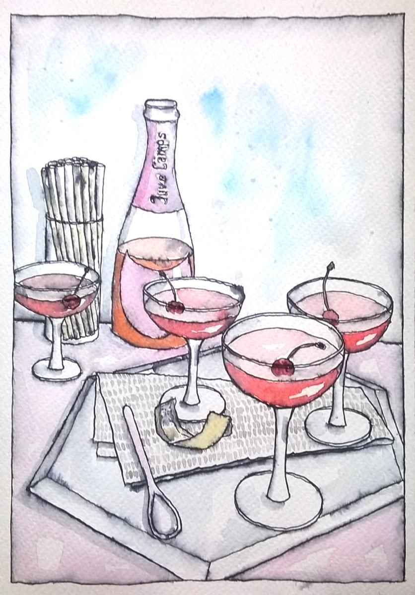 My first food sketch  Rosé All Day Jello - image 3 - student project