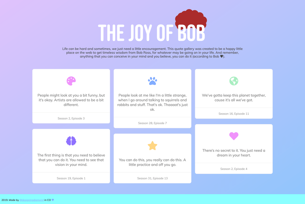 Bob Ross Quote Gallery - image 1 - student project