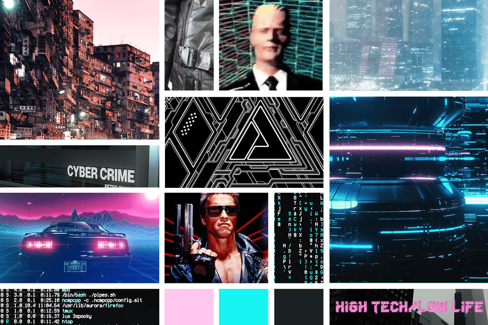 Cyberpunk/Vaporwave Themed Moodboard - image 1 - student project