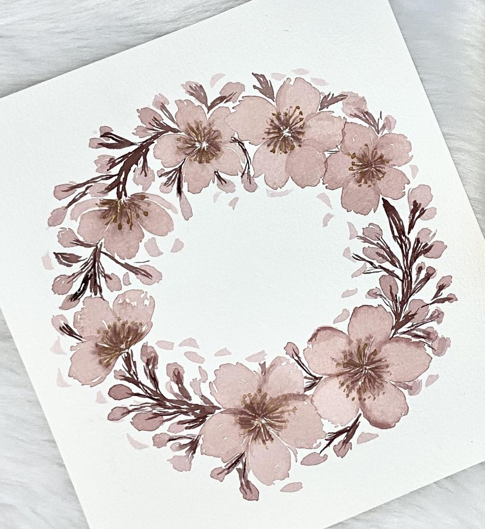 Vintage Cherry Blossom Wreath - image 1 - student project