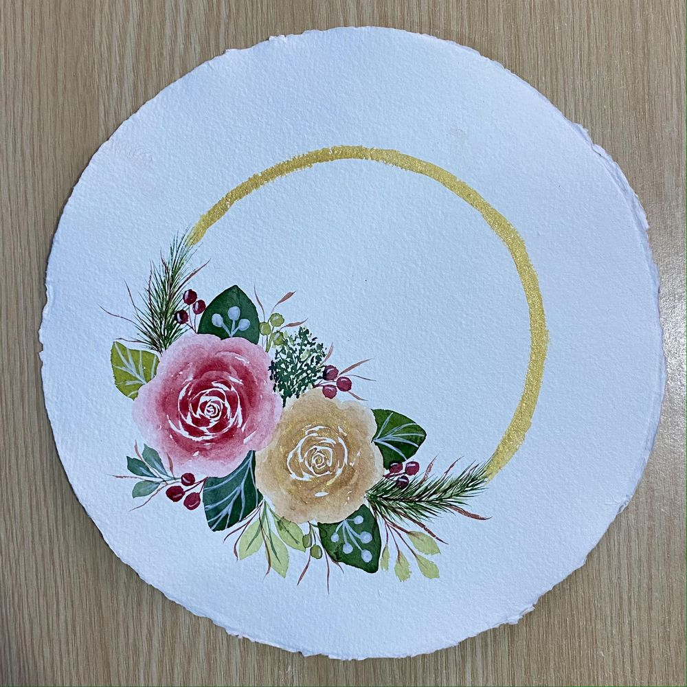 Modern Holiday Watercolor Floral Border - image 2 - student project