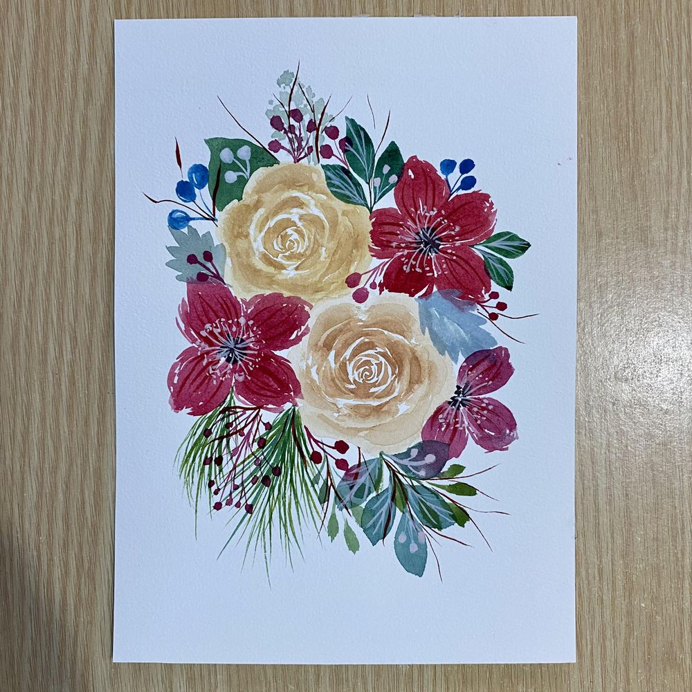 Modern Holiday Watercolor Floral Border - image 1 - student project