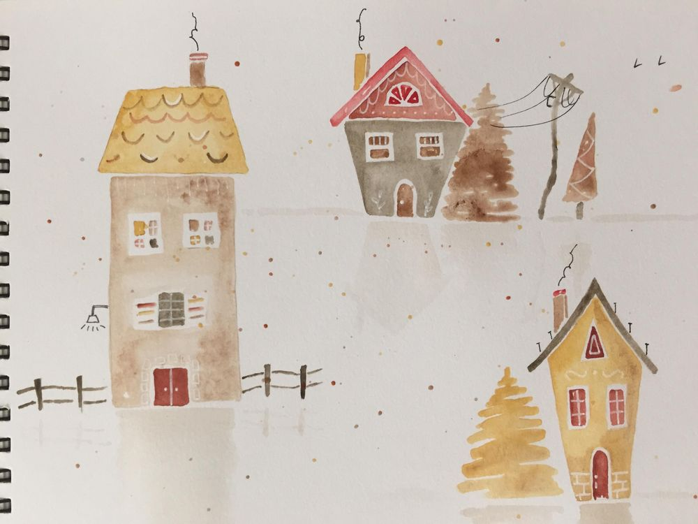 Watercolour Houses - image 2 - student project