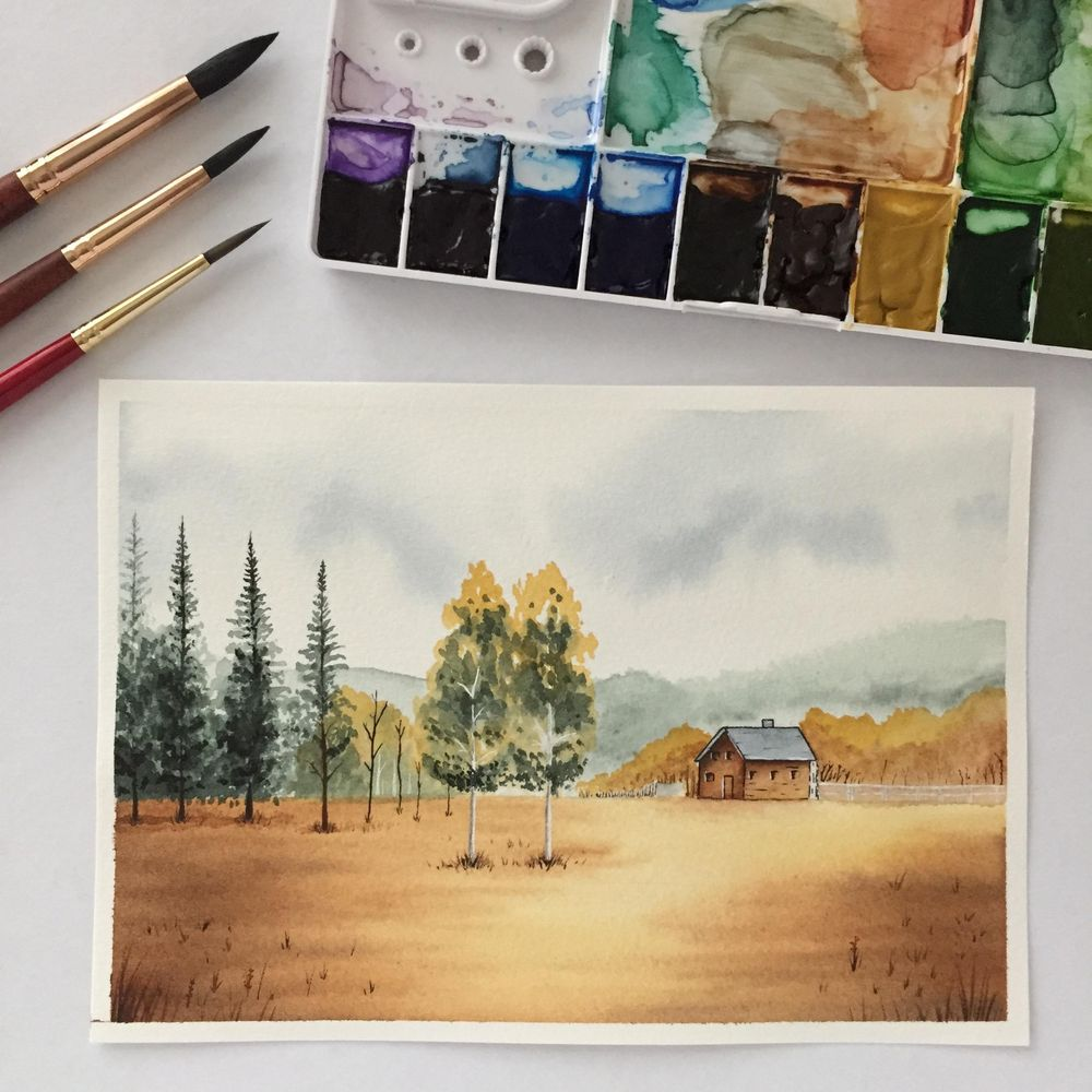 Painting a Landscape in Watercolour - image 4 - student project