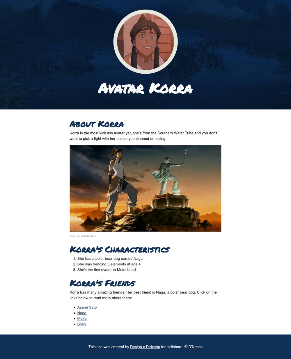 Cartoon Hero Website: Avatar Korra - image 1 - student project