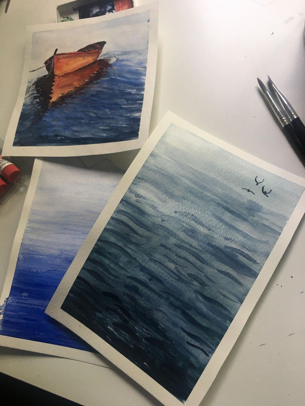 Watercolor seascapes - image 1 - student project