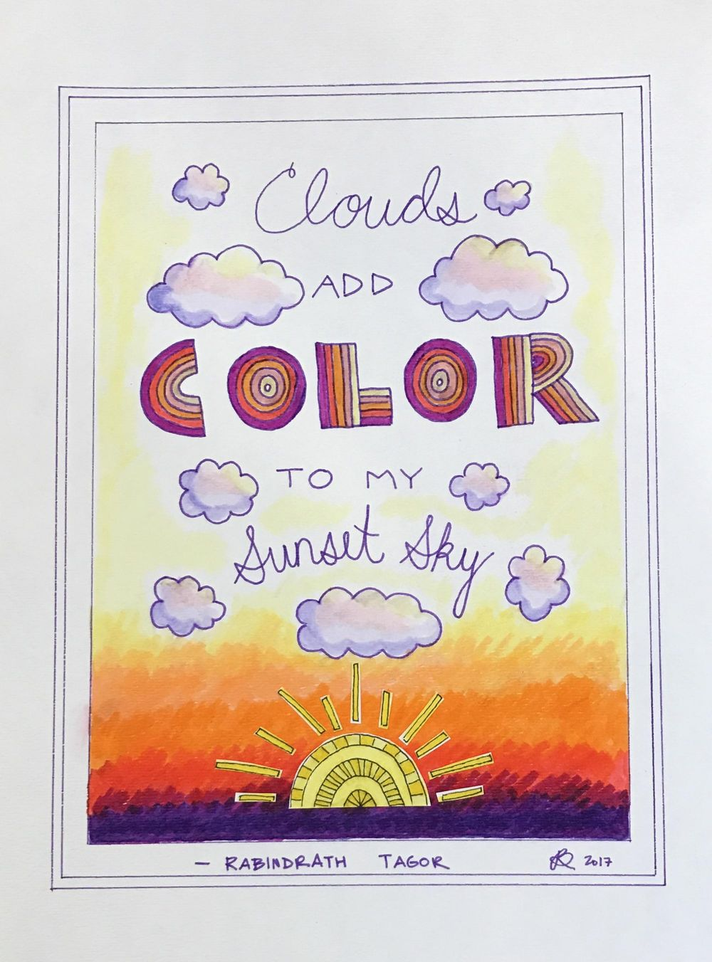 Clouds Add Color Hand Lettered Quote - image 1 - student project