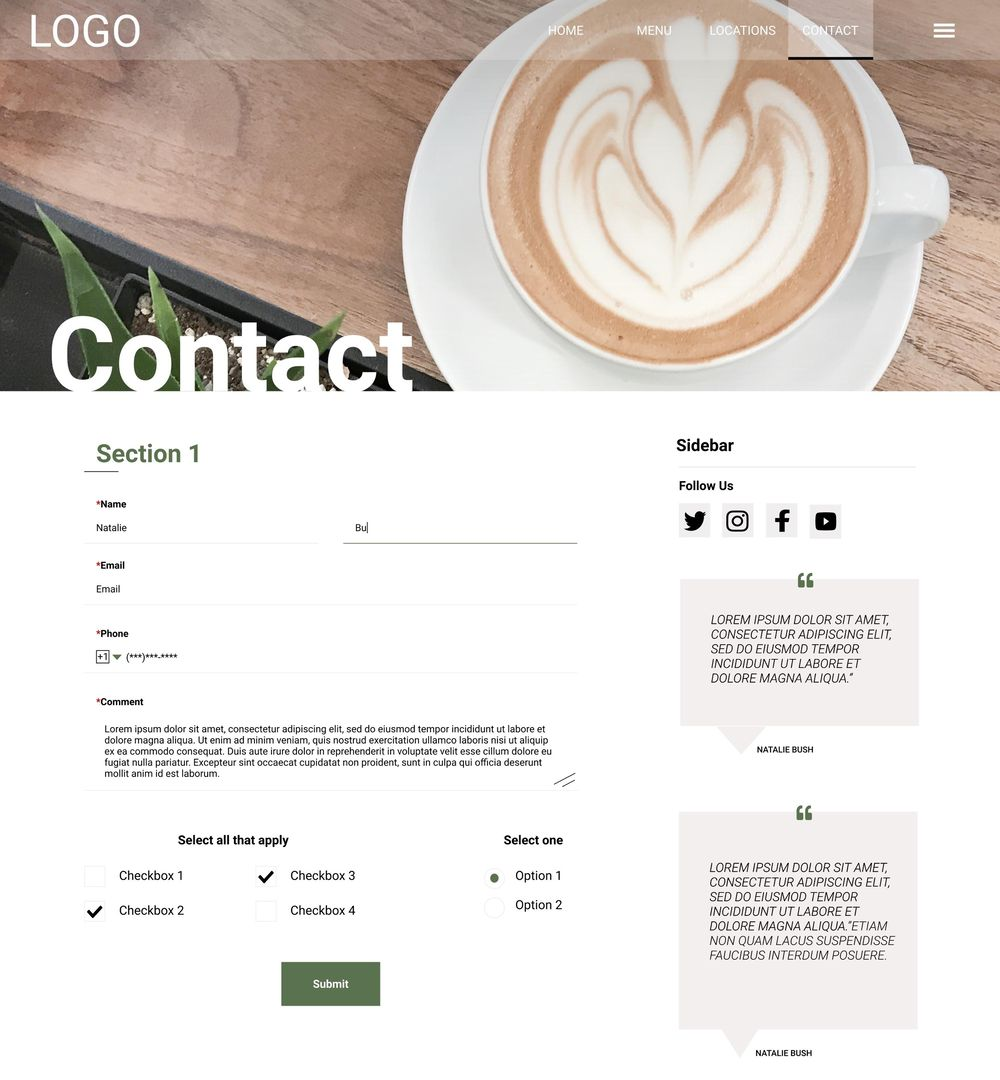 Coffee Shop Contact Page - image 1 - student project