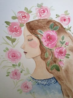 Whimsical portrait with roses - image 1 - student project