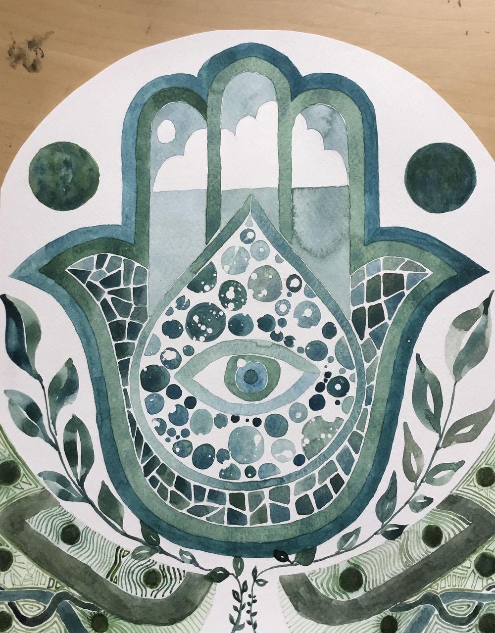 Monochrome-ish Hamsa Hand in Green-Blue - image 1 - student project