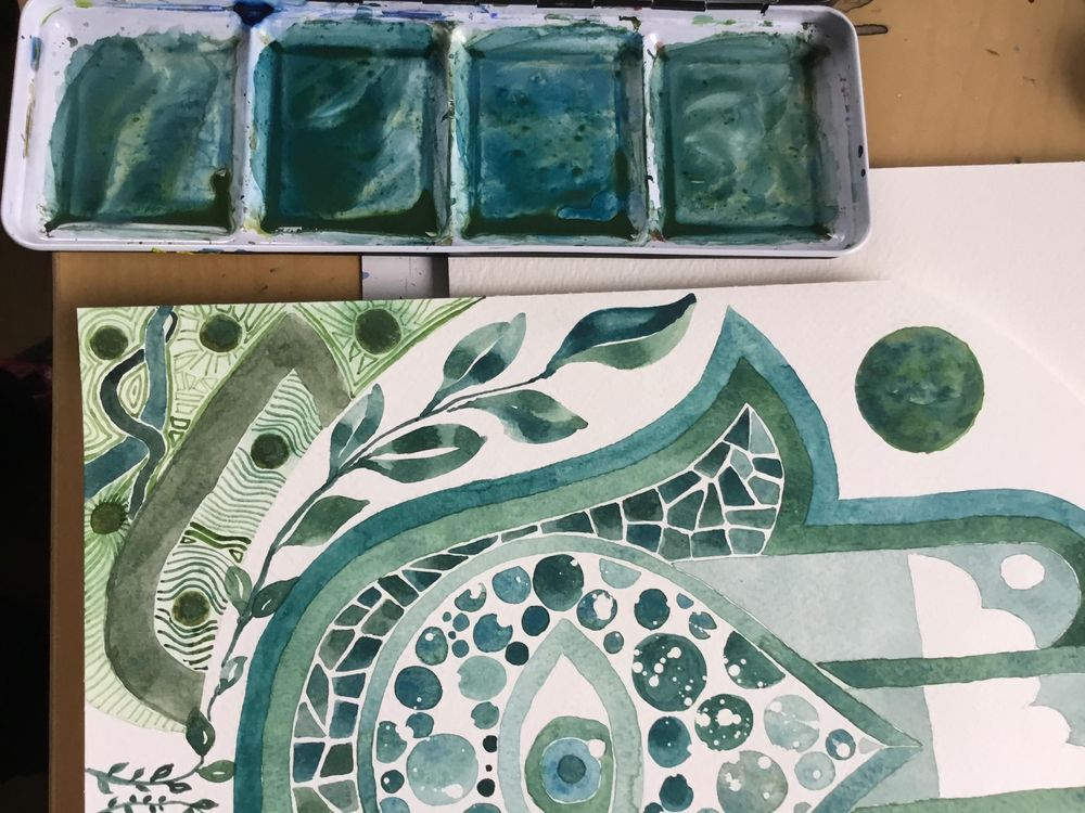 Monochrome-ish Hamsa Hand in Green-Blue - image 2 - student project