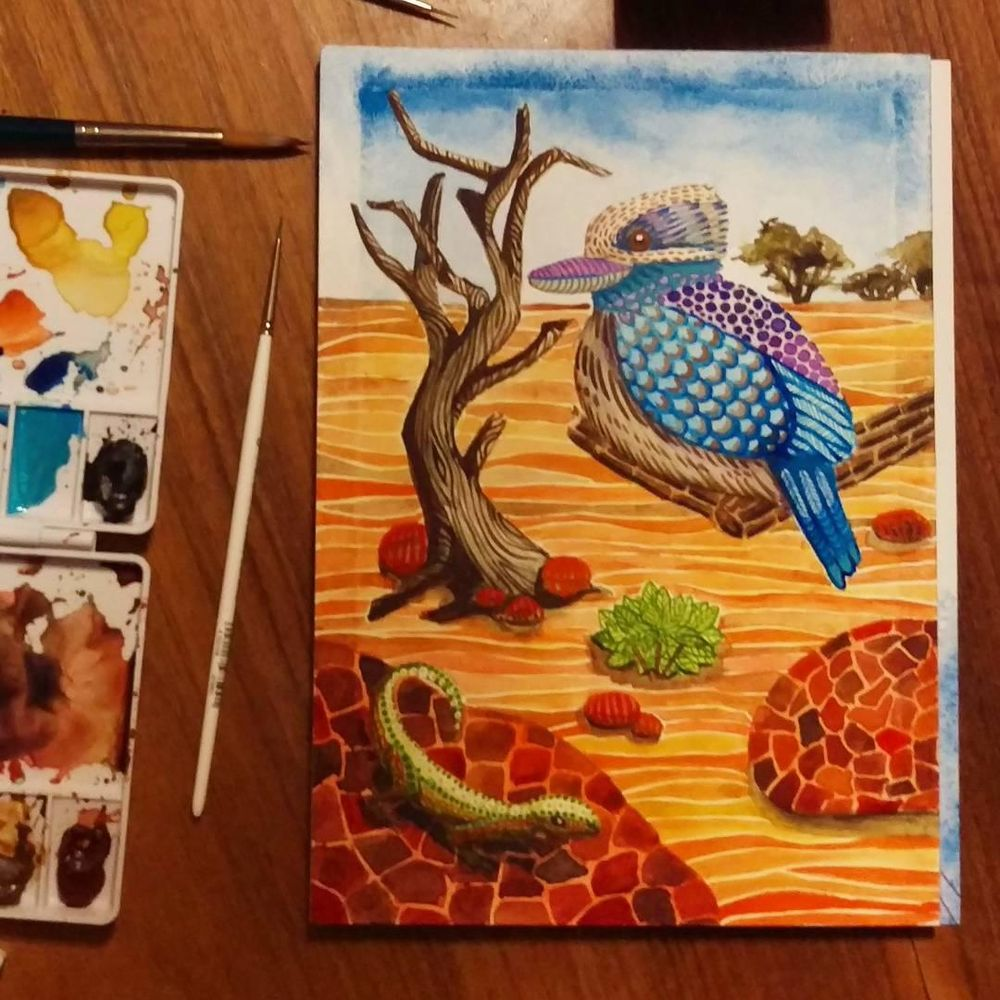 Swatches and Kookaburra Illustration - image 2 - student project