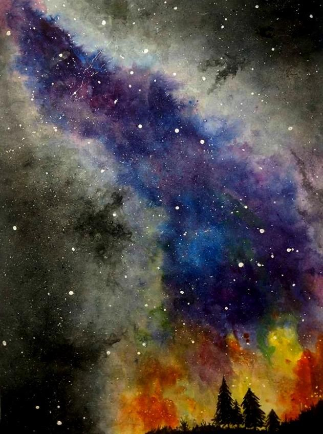 Milky Way Watercolor - image 1 - student project