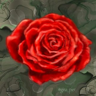 Painterly rose attempt with an alcohol ink background - image 1 - student project