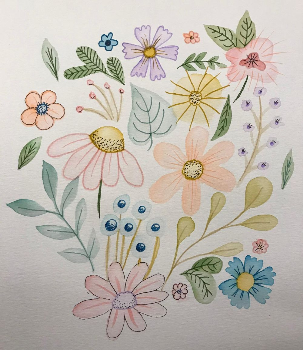 Brush pen florals - image 1 - student project